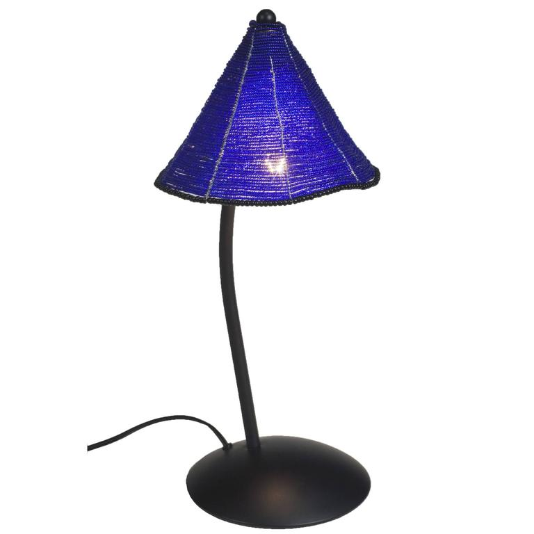 black and blue glass bead shade perlina table lamp by. Black Bedroom Furniture Sets. Home Design Ideas