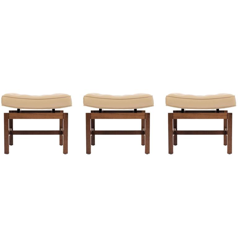 Set Of Jens Risom Curved Top Stools For Sale At 1stdibs