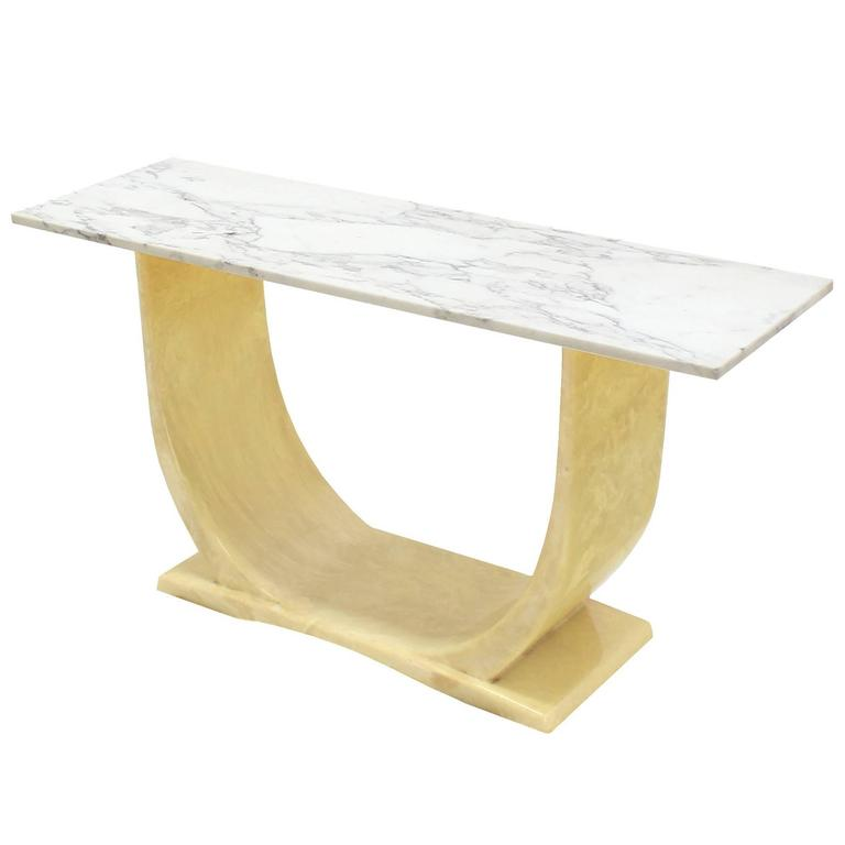 U Shape Base Marble Top Mid Century Modern Console Sofa Hall Table For