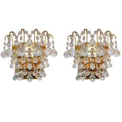 Pair of Mid-Century Crystal Wall Light Sconces