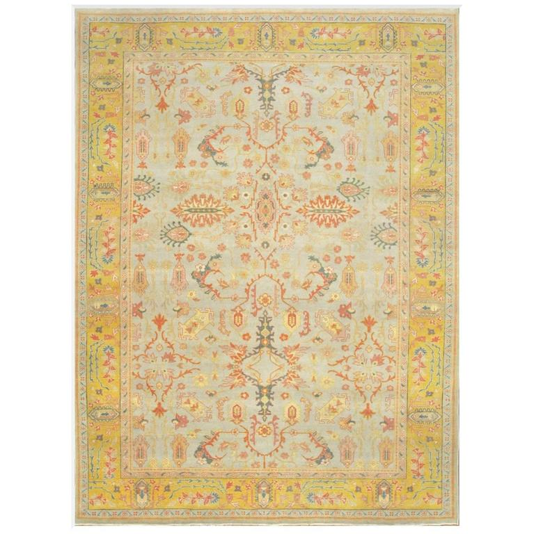 Antique Look Hand-Knotted Agra Design Rug For Sale At 1stdibs