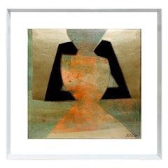 SICA Abstract Metallic Art under Lucite, 1980s