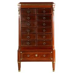 French Neoclassical Antique Mahogany and Leather Cartonnier Chest of Drawers
