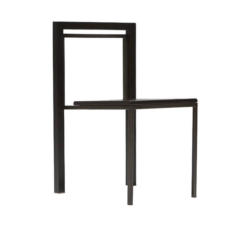 Ebonized Oak and Blackened Steel Dining Chair