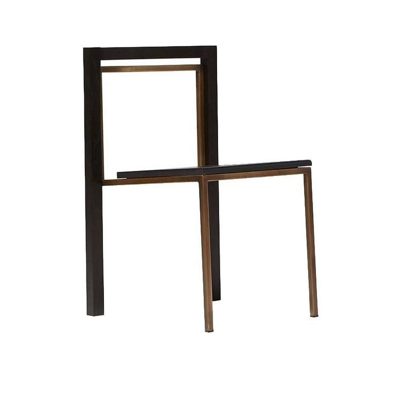 Ebonized Oak and Antique Brass Dining Chair For Sale
