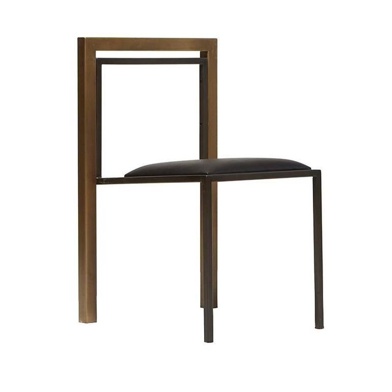 Black Leather and Antique Brass Dining Chair with Blackened Steel Frame