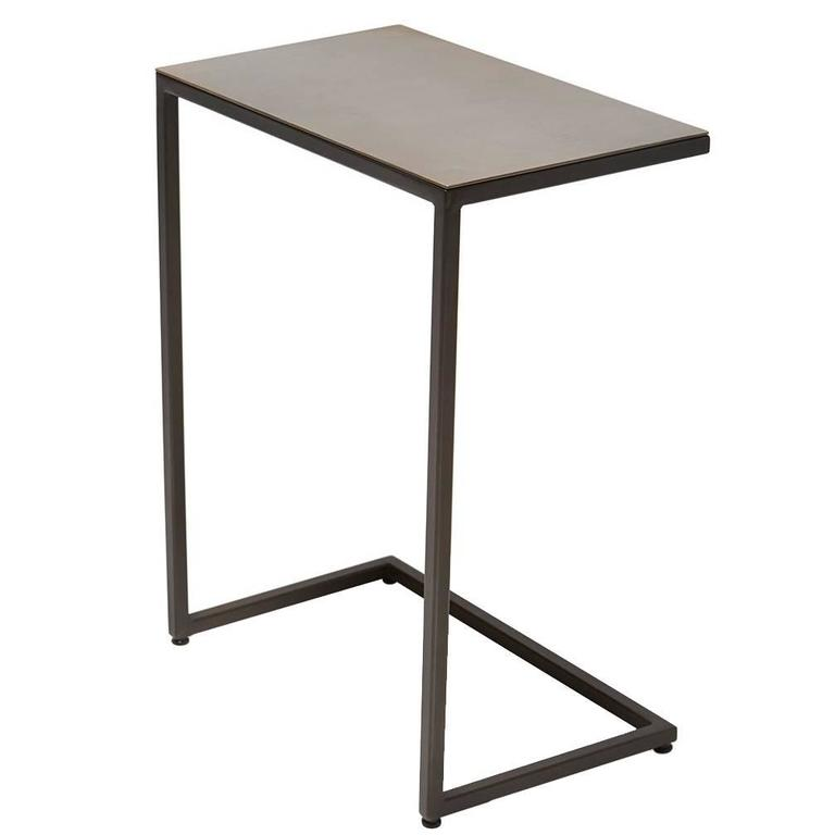 Blackened Steel and Antique Brass Side Table