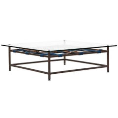 Antique Copper and Glass Coffee Table with Indigo and Cognac Belts