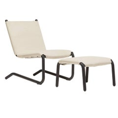 Bowline Chair and Ottoman in Cream Canvas - In Stock