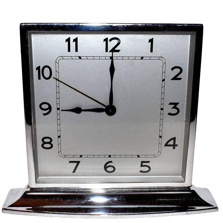 1930s Art Deco Chrome Clock