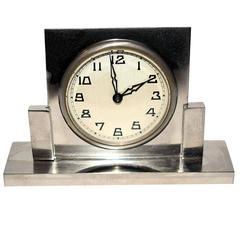 French 1930s Art Deco Miniature Chrome Clock