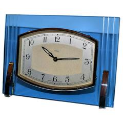 English 1930s Art Deco Blue Glass and Chrome Clock by Enfield