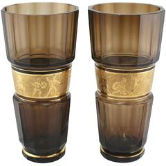 Pair of Monumental Faceted and Gilt Bohemian Glass Vases by Moser Glassworks