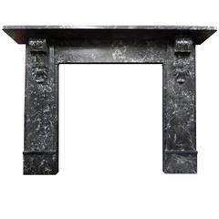 Antique Victorian Black St. Anne's Marble Mantel / Surround