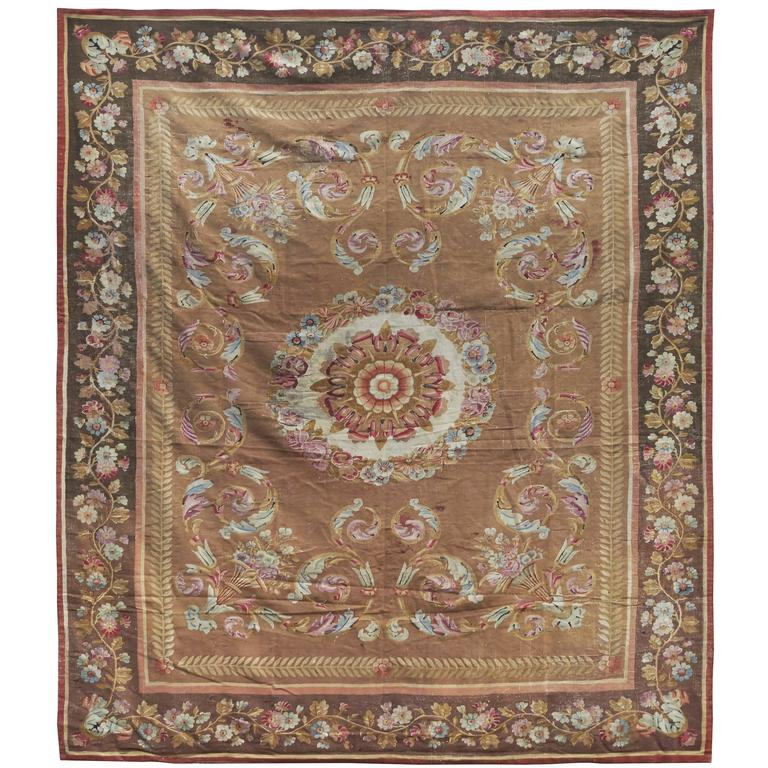 Large Aubusson Rug: Large Charles X Aubusson Carpet, France, Circa 1830 For