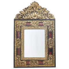 Dutch Brass Repoussé Mirror with Tortoiseshell, 19th Century