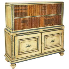 French Chinoiserie Painted Bar Cabinet, with Faux Books Panels, circa 1930