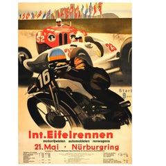 Large Original Vintage Car Motorcycle Racing Poster Int. Eifelrennen Nurburgring