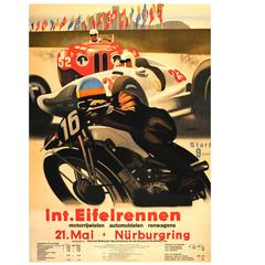 Original Car and Motorcycle Racing Poster for the Int. Eifelrennen Nurburgring