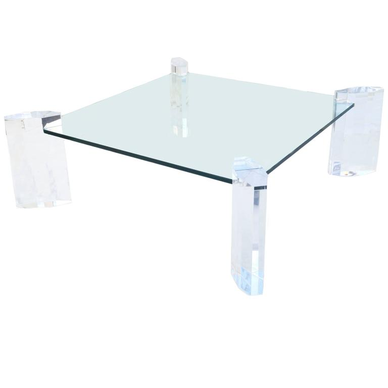 Karl Springer Style Rectangular Coffee or Cocktail Table with Lucite Base