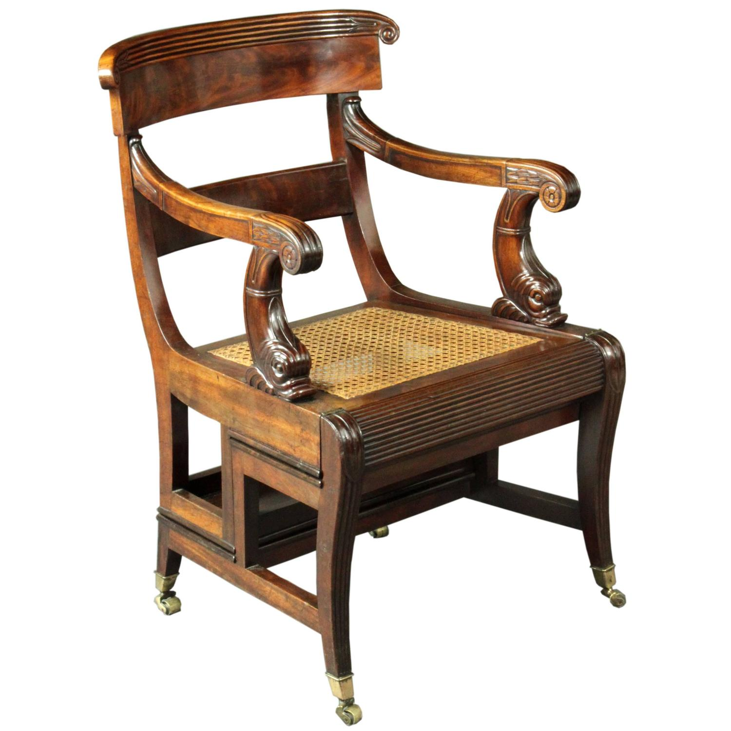 Antique Metamorphic Mahogany Library Chair English Regency circa