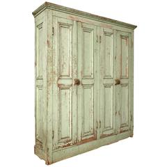 Original Paint Four-Door Raised Panel Cupboard
