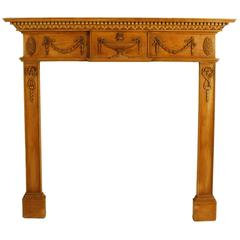 Neoclassical Carved Fireplace Surround, Mid-20th Century