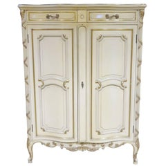 Louis XVI Style Distressed Cream Painted and Gilt High Chest