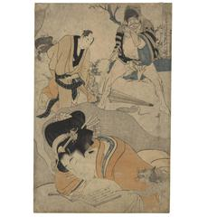 Utamaro I Kitagawa Ukiyo-e Japanese Woodblock Print 1801, 19th Century Dream