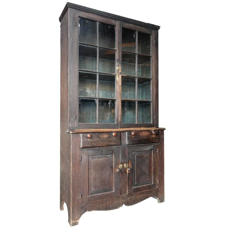 Mid-1800s Glazed Two-Tier Cupboard in Original Paint For Sale