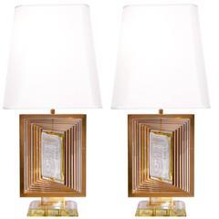 "Pair of Table Lamps ""Giro 7 Nilo"" by Roberto Giulio Rida"