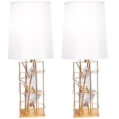 "Pair of Table Lamps ""Gabbia Con Schegge Anice"" by Roberto Giulio Rida"