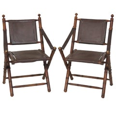 Pair of Faux Bamboo and Leather Folding Lounge Chairs