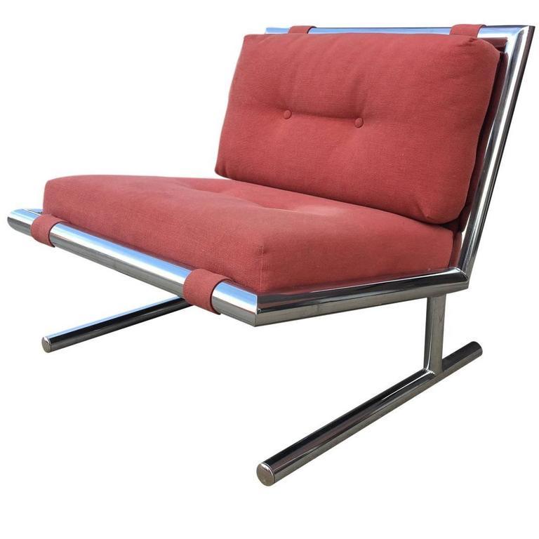 Arthur Umanoff Mid-Century Modern Chrome Cantilevered Sled Chair 1