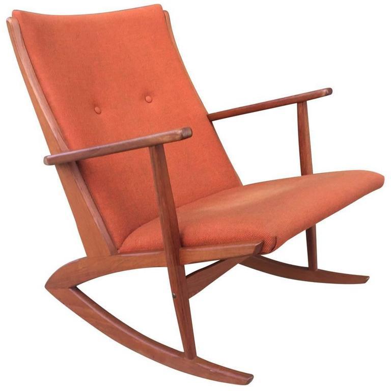 Mid-Century Modern Danish Teak Rocking Chair by Soren Georg Jensen