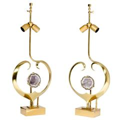Pair of Lamps in Brass and Amethyst by Willy Daro