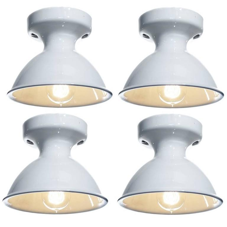 Four Original White Porcelain Alabax Flush Mount lamps 1