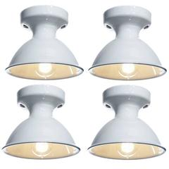 Four Original White Porcelain Alabax Flush Mount lamps