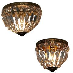 Pair of French Crystal Flush Mount in Two Sizes Bronze Basket Chandelier