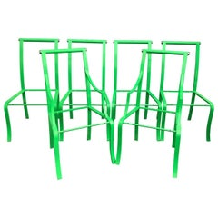 Set of 6 Mid-Century Modern Green Powder-coated Dining Chairs