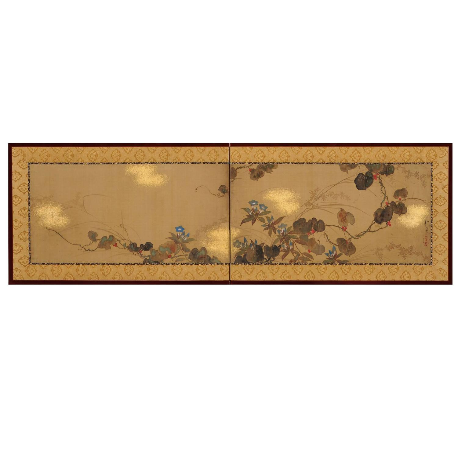 Antique japanese screens for sale - Sakai Hoitsu Autumn Flowers Japanese Screen Painting