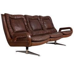 Retro Leather Sofa, Sweden, circa 1960