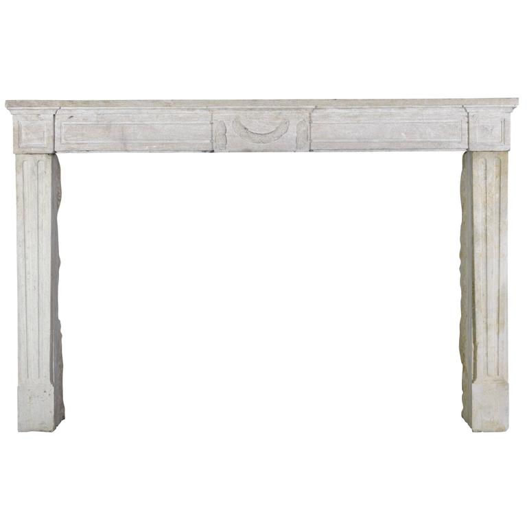 18th Century French Country Limestone Fireplace Surround
