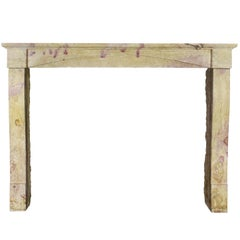 19th Century Original Bicolor French Hard Stone Antique Fireplace Mantle
