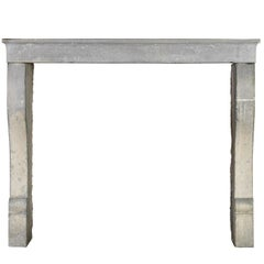 19th Century Original French Country Grey Hard Stone Antique Fireplace Mantle