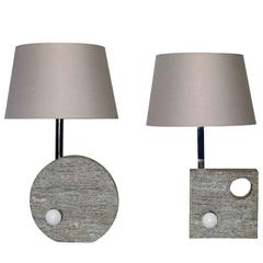 Carved Stone Italian Table Lamps in the Style of Mangiarotti