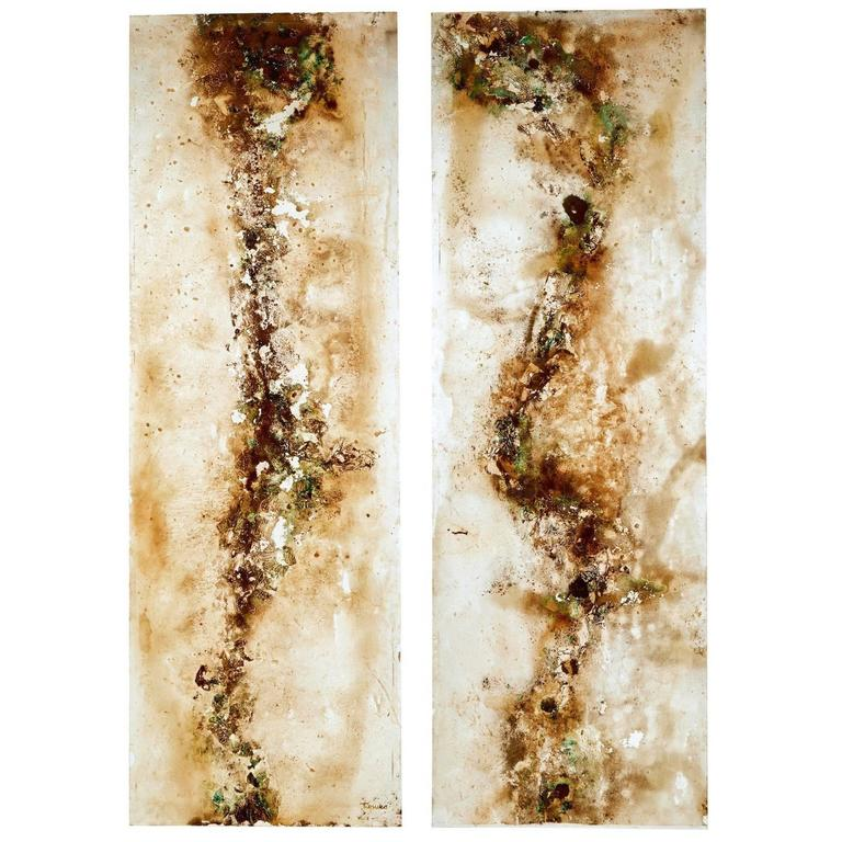Pair of Large French 1950s Acrylic Abstract Panels