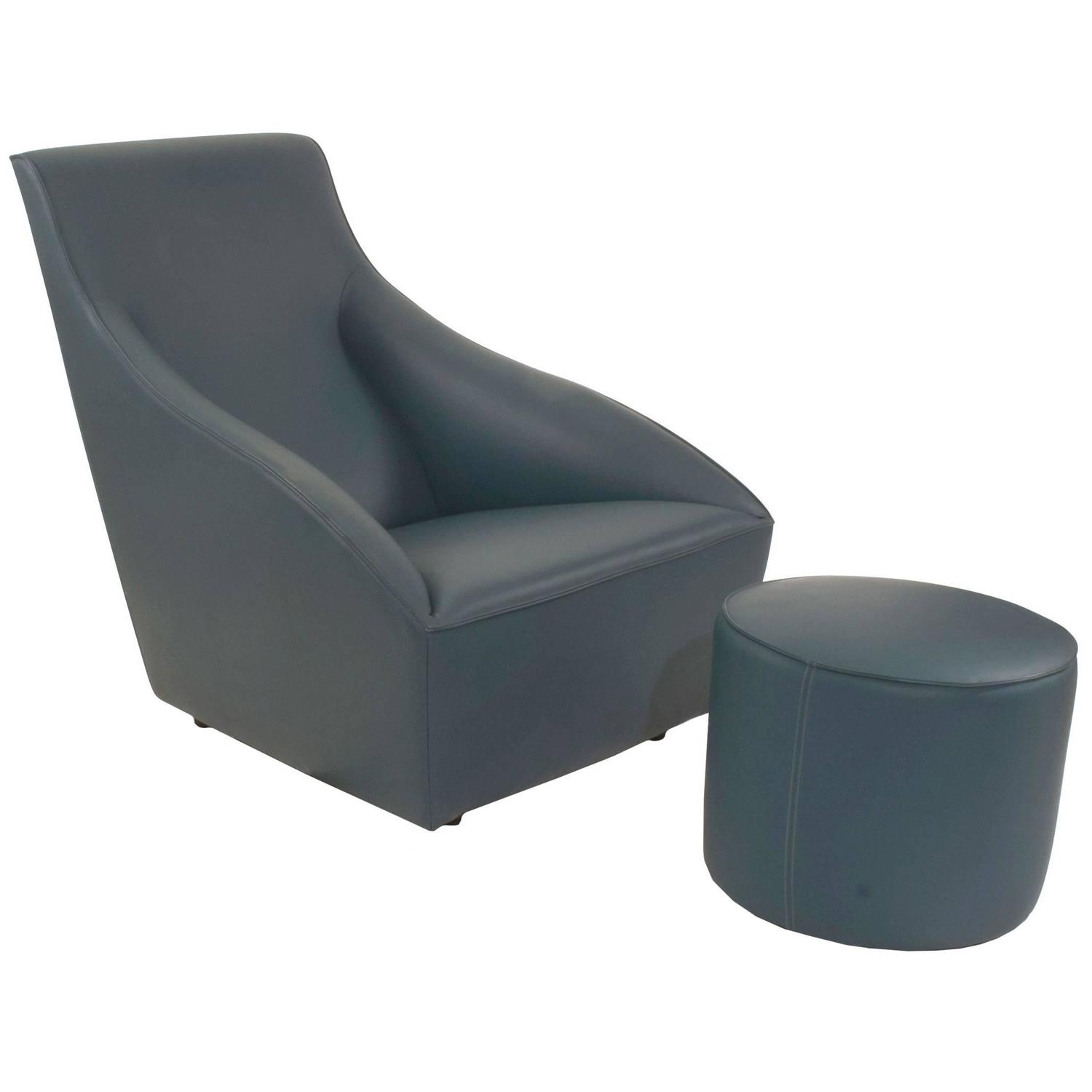 italian modern maxence small armchair and pouf ottoman by dom  - leather doda lounge armchair and pouf ottoman by ferruccio laviani formolteni