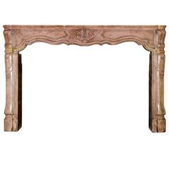 18th Century Burgundy Hardstone Antique Fireplace Mantel