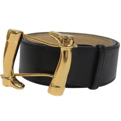 Gucci Equestrian Riding Boots Belt Leather Brass Horse Signed, Italy, 1970s